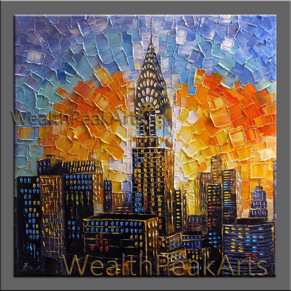 City New York Oil Painting On Canvas Wall Art For Living: Original Oil PaintingChrysler Building PaintingNew York City