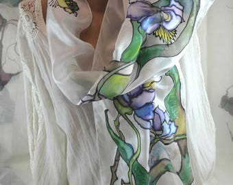 Fashion scarf Hand painted silk scarf Painted scarf Accessories, gift, present for woman, batik scarf  white, blu,  green, flowers