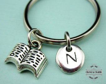 Book Keychain, Book Charm, Book, Reading, Gift for Friend, Custom Keychain, Silver Plated Initial Charm, Personalized Gift, Monogram, Gift