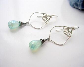 Green Teardrop Earrings, Sterling Silver Lanterns, Green Briolette Gemstones, Asian Earrings, Far East