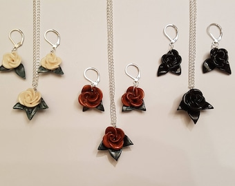Handmade Rose Earrings (optional with matching Necklace) 3 colors to choose from