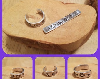 Puppy Dog 1/4 inch width hand stamped and polished adjustable size aluminum thumb ring perfect for any canine friend