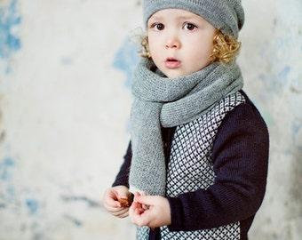 Light alpaca Scarf / grey / white wool unisex Scarf / girl / boy / toddler / children / kids / baby