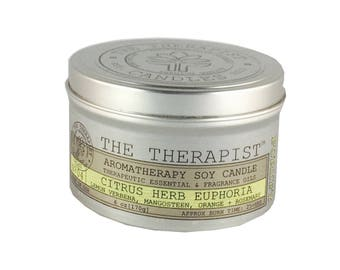 Scented Soy Candle < No. 04 Citrus-Herb Euphoria >- Hand Poured - Highly Fragrant - 6 oz - Tin Can