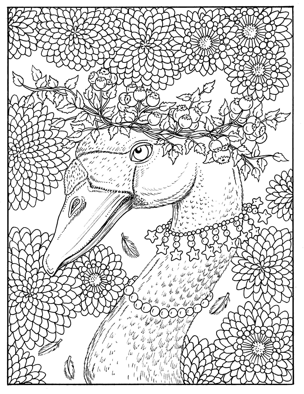 Download Fall Goose Coloring page Digital Autumn digi stamp