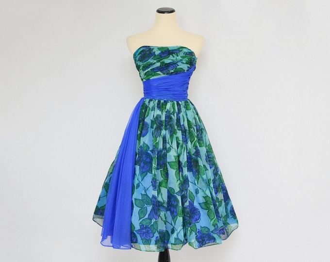 Vintage 1950s Strapless Floral Chiffon Cupcake Dress - Size Extra Small