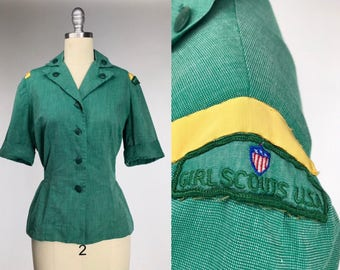 Vintage 1960s Girl Scout Uniform // Early 60s Scout Leader // Americana // Retro Collectors Shirt // Wes Anderson Costume // Scouts Honor