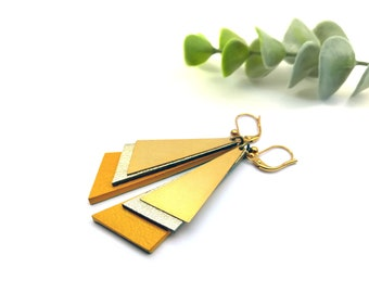 """Earrings gold brass yellow leather """"LENY"""""""