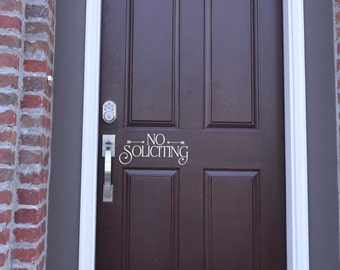 No Soliciting decal sticker removable vinyl no soliciting front door decor  KW1257