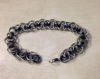 Purple/blue niobium helm bracelet