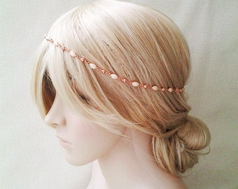 Rose gold headband bridal hair jewelry headpiece statement wedding crown head chain ivory circlet hair halo pearl pink gold shell beach