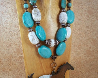 Cowgirl Necklace Set - Chunky Turquoise and White Howlite - Appaloosa Horse Pendant