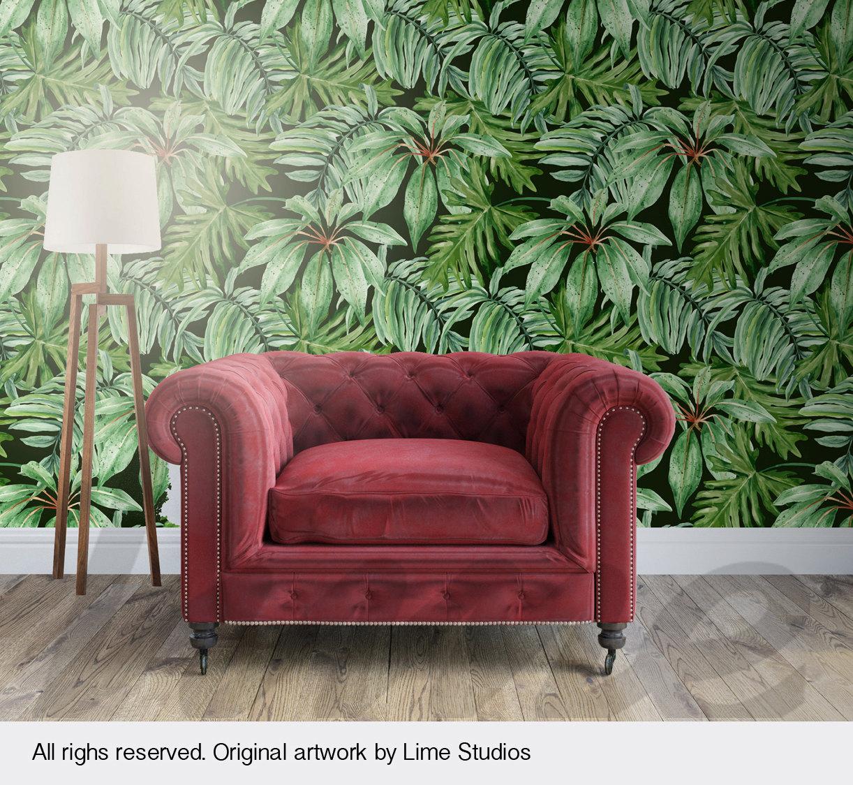 Banano Hoja Wallpaper Mural De Pared Hojas Tropicales # Muebles Hoja De Banano