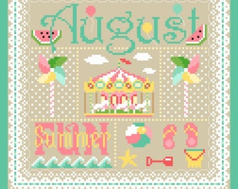 August Monthly Sampler Cross Stitch Chart PDF