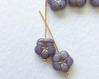10 Czech Glass 5 Petal Flower Beads, Purple Glass Flower Beads, Czech Glass Daisy Beads, Gold Inlay Flower Beads, 14mm Flower Beads