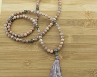 Peach Moonstone Mala Beads Necklace with Labradorite | 8mm | 108 Buddhist Prayer Beads with Tassel | Free Shipping