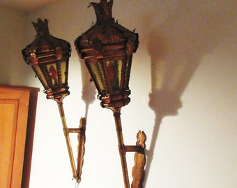 "Pair 42"" Antique Italian Gold Lantern Wall Sconces 6 Glass Panels Handcrafted"
