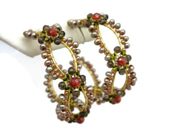 Beaded Hoop Earrings - Gold Tone Costume Jewelry, Large, Boho Vintage Earrings for Women