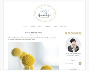 "Wordpress Theme Responsive Blog Design ""Hey Denise"" - Rustic and wreath design"