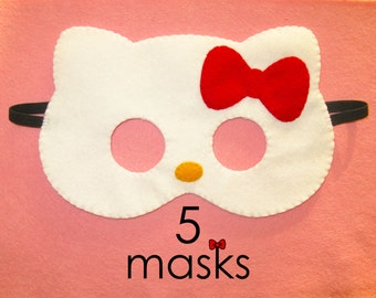 5 cat masks party pack white felt red bow - handmade kids kitty party favors photo booth props pretend play accessory Birthday gift for girl