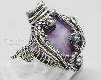 Sterling Silver and Purple Quartz Ring - Size 8 1/2 - CLEARANCE