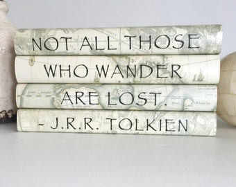 Not all those who wander are lost quote book set, JRR Tolkien quote book set, Decorative book set for adventurers, Vintage maps books, Gift