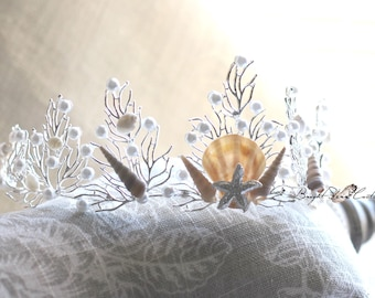Starfish crown - Mermaid crown - wedding crown - Seashell crown - wedding tiara - Beach wedding headpiece - Mermaid tiara - beach wedding