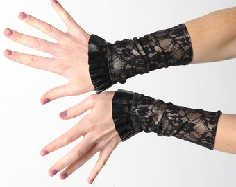 Lace jersey cuffs with ruffle, black and golden cuffs,  black pleather ruffled cuffs, Gift for women, Womens accessories, MALAM