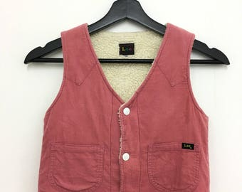Vintage LEE Vest Corduroy Unisex Kids Size 130 Good Condition