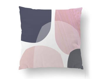 Geometric Pastel Shapes, Home Decor, Decorative Pillow, Pink Purple Design, Contemporary Art, Throw Pillow, Abstract Textures, Cushion Cover