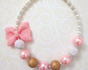 Baby Necklace, Girl Necklace, Bubblegum Necklace, Pink White Gold Necklace, Chunky Bead Necklace, Necklace for Girl