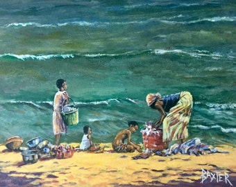 Original Figurative Painting of a Wash Day by Lake Malawi Africa by Barry Baxter