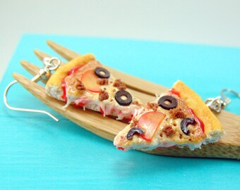 Pizza Earrings // MADE TO ORDER // Food Jewelry // Sausage, Tomato and Olive Pizza Earrings // Food Earrings
