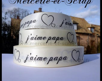 Satin ribbon I love Daddy 25mm the meter beige heart 04