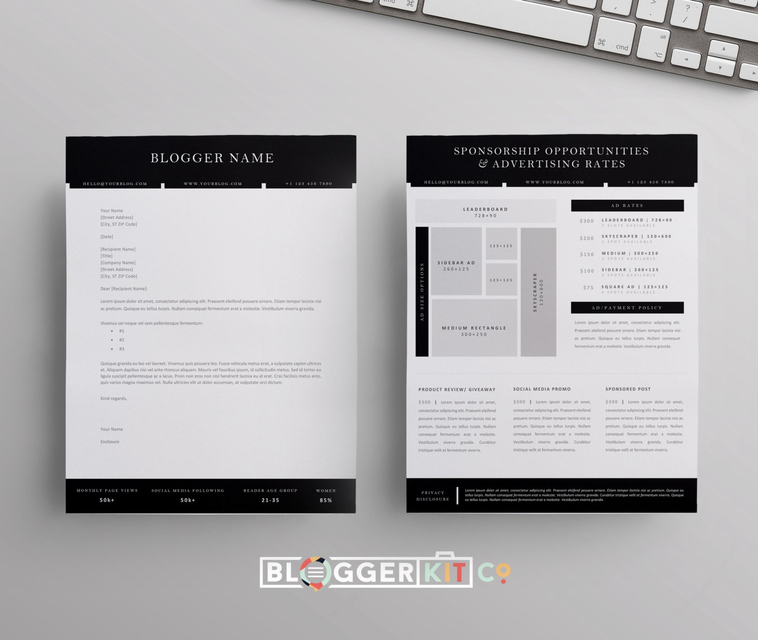 Blog Sponsorship Proposal Letter Template Ad Rate Sheet