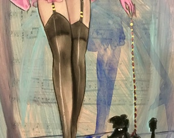PINK SKIRT Stockings and French Poodle Dog Original Painting Nude Deco Nylons Garters Pin-up Modern Art MidCentury pinup Vanguard collection