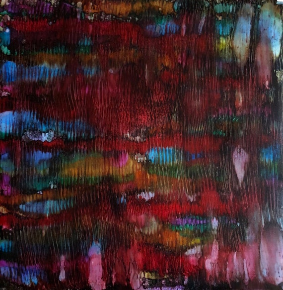 """Original Alcohol Ink Abstract: """"East to West"""" (20"""" x 20"""")"""