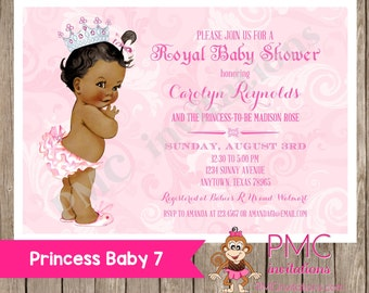 Custom Printed Shabby Chic Vintage African American Princess Baby Shower Invitations - 1.00 each with envelope
