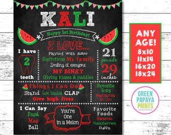Watermelon First Birthday Chalkboard, One in A Melon, Watermelon Birthday Printable, Poster, Milestone, Red, Green, Decor , Digital File