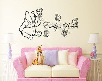 Personalized Name Classic Winnie the Pooh Wall Stickers Nursery Room Wall Murals Decals