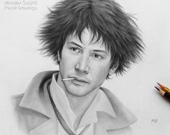 Keanu Reeves as Spike Spiegel Artwork Print - Anime Cowboy Bebop Spike Spiegel - Anime Pencil Drawing - Keanu Reeves as Anime Character