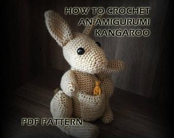 How to Crochet Amigurumi Kangaroo - Crochet Pattern - Crochet Kangaroo Stuffed Animal - Crochet PDF - DIY Crafts - Amigurumi Crochet Pattern