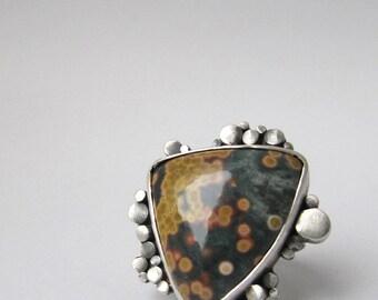 Of Being Numerous - sterling silver ocean jasper contemporary art ring, dark green unique artisan organic oxidised gemstone ring