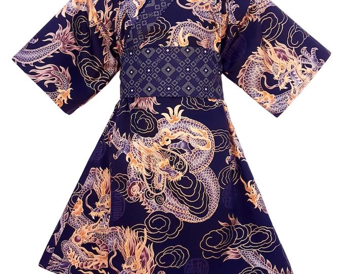Kimono Dress GOLDEN DRAGON Yukata Modern Kimono Girls Baby Toddler Japanese