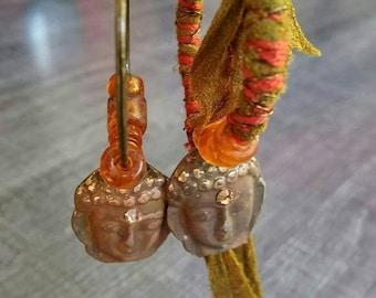 Ethnic asymmetrical dangling bronze, Brown, fabrics patina Buddha charm and beads - khaki/brown/orange/bronze tone