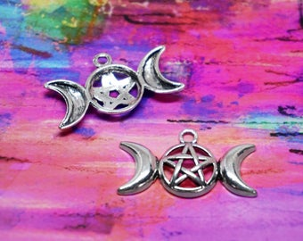 Triple Moon Pentacle Charms Silver Set of 4