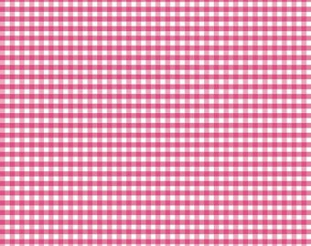 "Riley Blake hot pink gingham fabric 1/8"" 1/2 yard or yardage small gingham mini gingham"