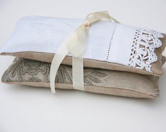 Lavender Sachets - Set of 2 - Linen Lavender Sachets - Travel Sachets - Antique Linen - Aromatherapy