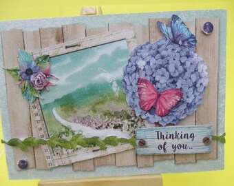 Card 3D (relief) hydrangea painting of a landscape and butterflies