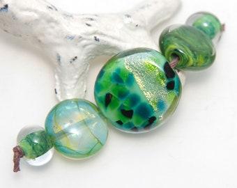 Mixed Green Orphaned Lampwork Glass Bead Set